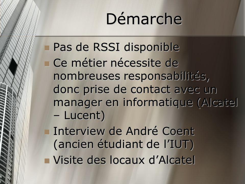 Démarche Pas de RSSI disponible Pas de RSSI disponible Ce métier nécessite de nombreuses responsabilités, donc prise de contact avec un manager en inf