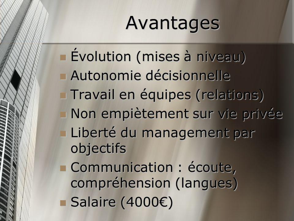 Avantages Évolution (mises à niveau) Évolution (mises à niveau) Autonomie décisionnelle Autonomie décisionnelle Travail en équipes (relations) Travail