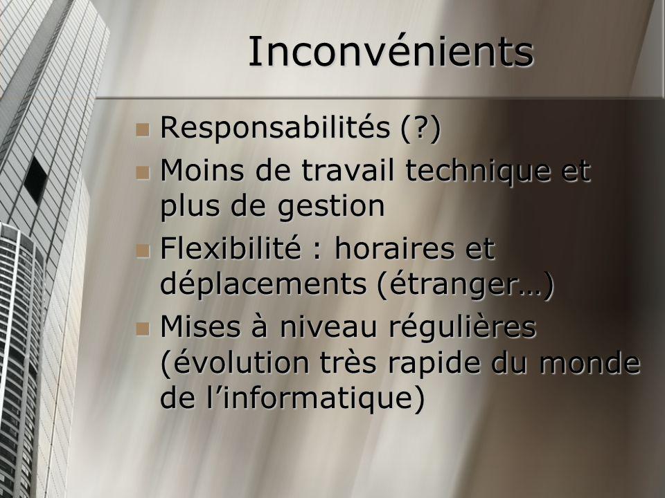 Inconvénients Responsabilités (?) Responsabilités (?) Moins de travail technique et plus de gestion Moins de travail technique et plus de gestion Flex