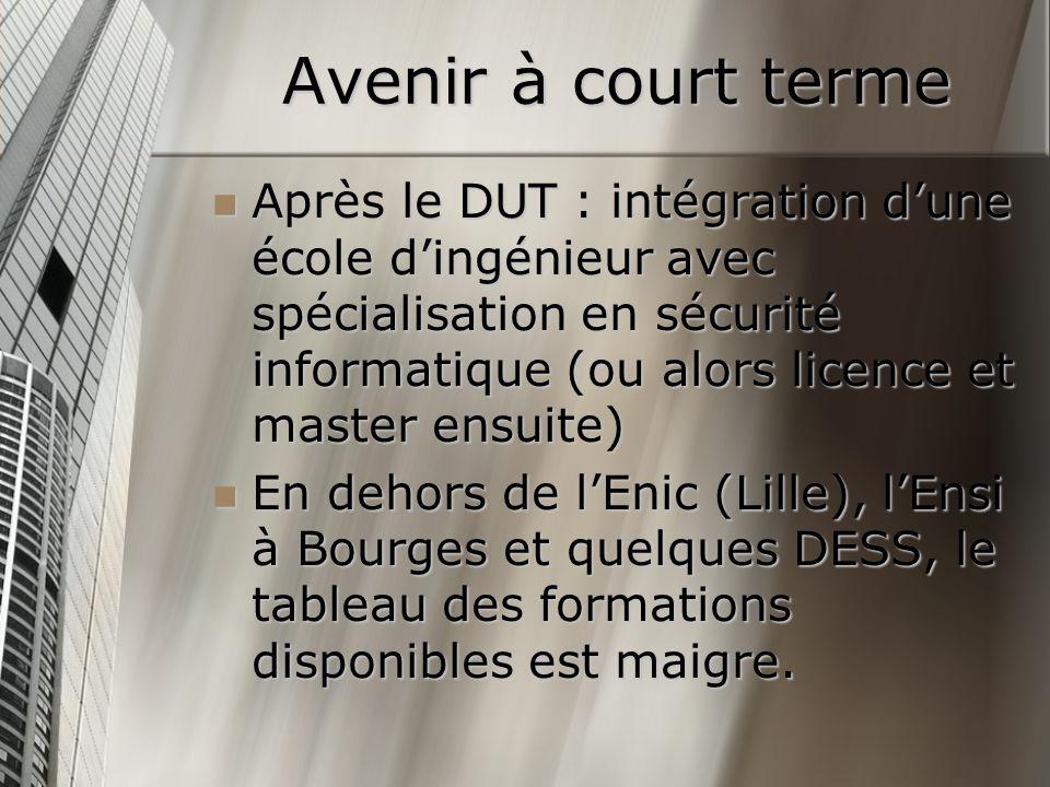 Avenir à court terme Après le DUT : intégration dune école dingénieur avec spécialisation en sécurité informatique (ou alors licence et master ensuite