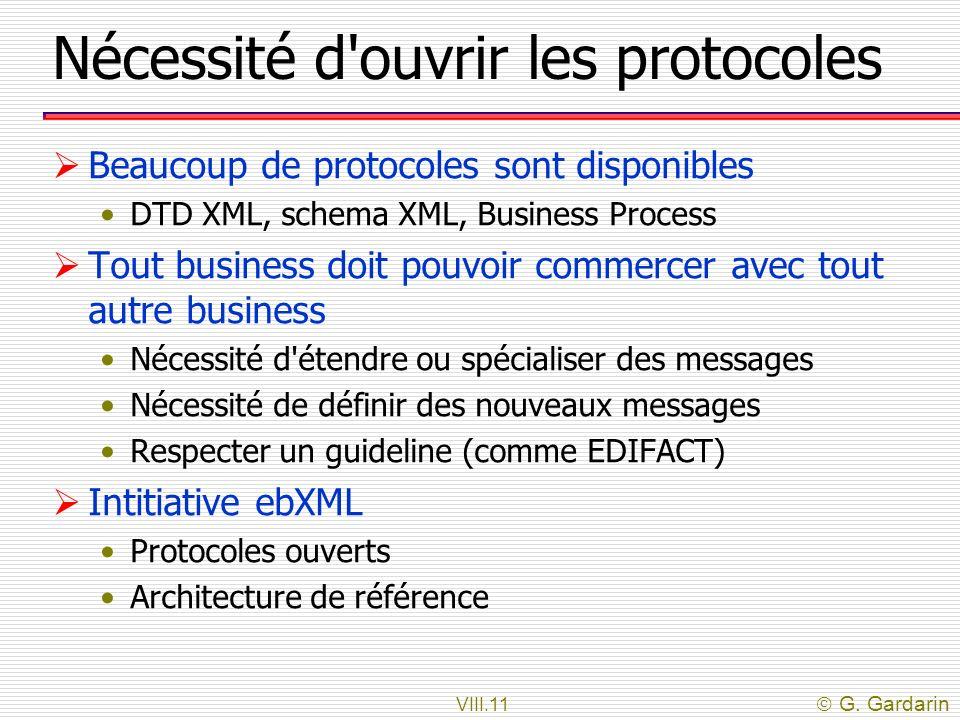 VIII.11 G. Gardarin Nécessité d'ouvrir les protocoles Beaucoup de protocoles sont disponibles DTD XML, schema XML, Business Process Tout business doit