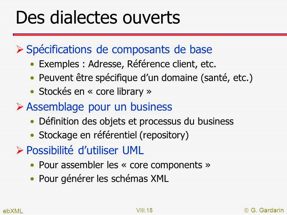 VIII.15 G. Gardarin Des dialectes ouverts Spécifications de composants de base Exemples : Adresse, Référence client, etc. Peuvent être spécifique dun