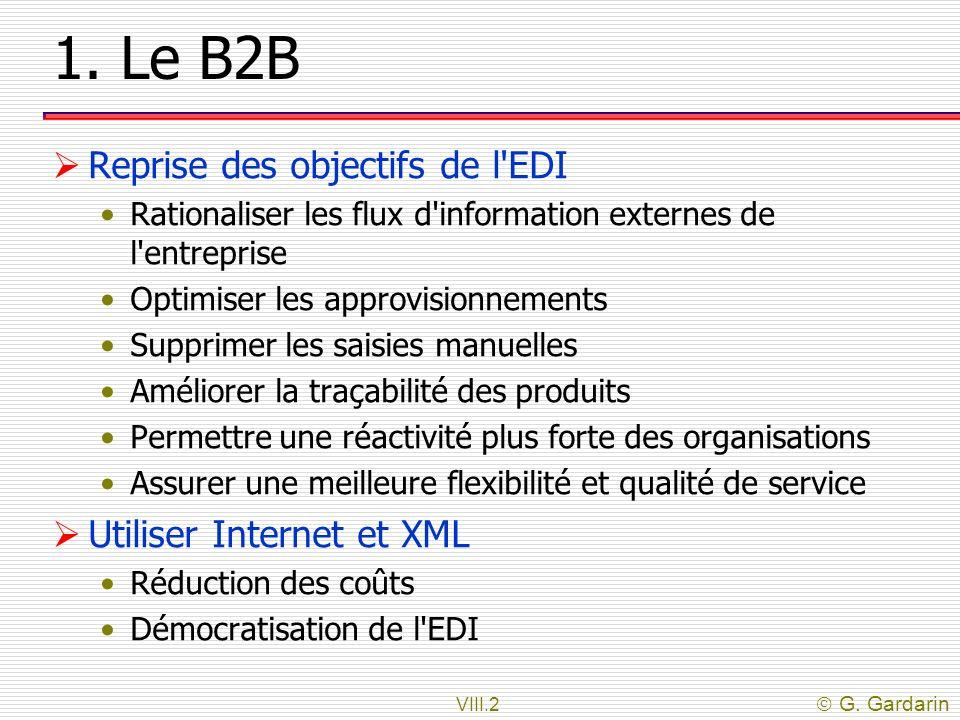 VIII.2 G. Gardarin 1. Le B2B Reprise des objectifs de l'EDI Rationaliser les flux d'information externes de l'entreprise Optimiser les approvisionneme