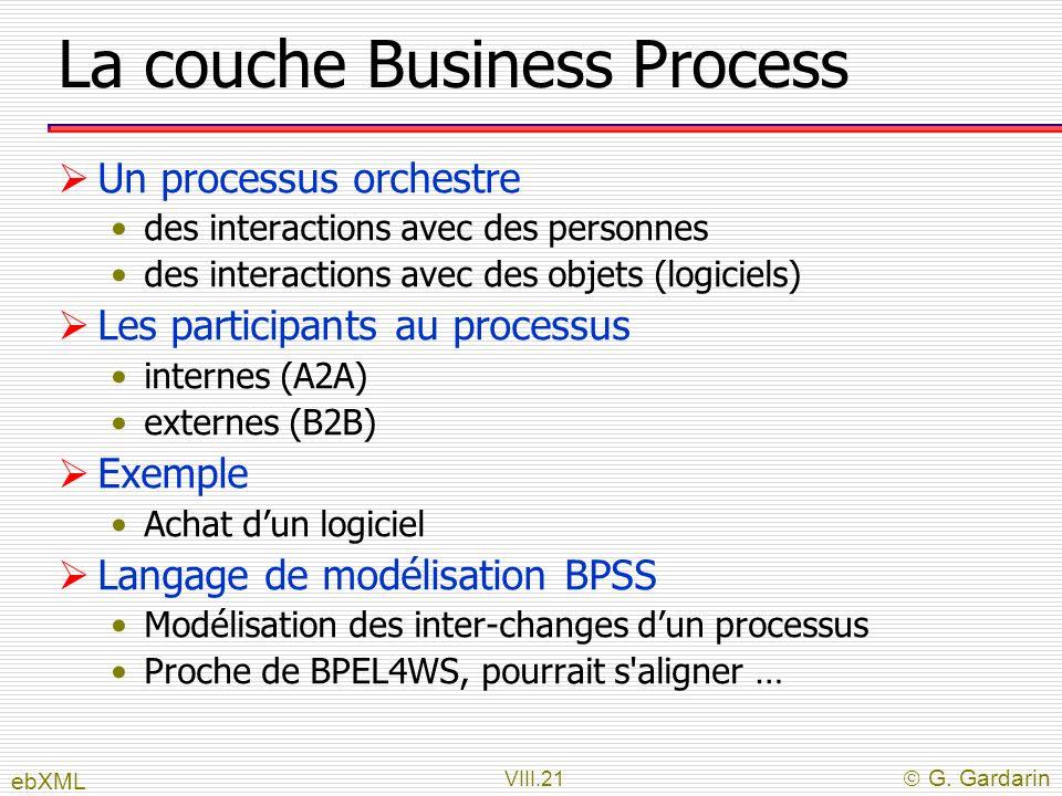 VIII.21 G. Gardarin La couche Business Process Un processus orchestre des interactions avec des personnes des interactions avec des objets (logiciels)