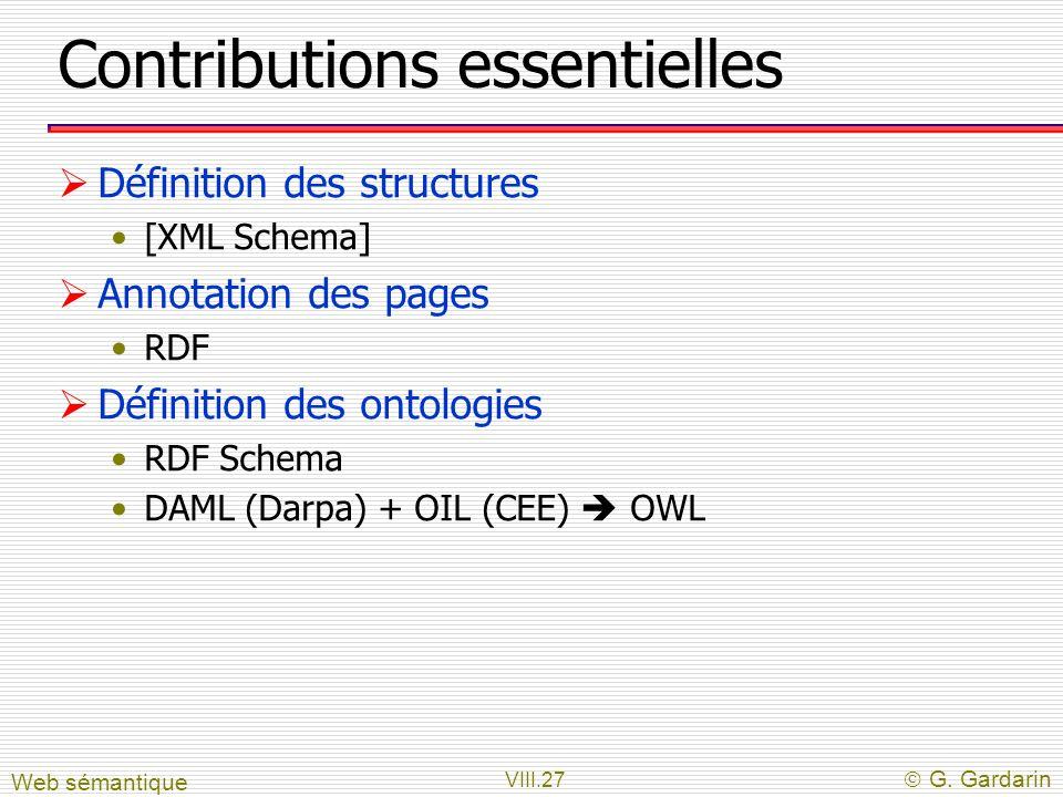 VIII.27 G. Gardarin Contributions essentielles Définition des structures [XML Schema] Annotation des pages RDF Définition des ontologies RDF Schema DA