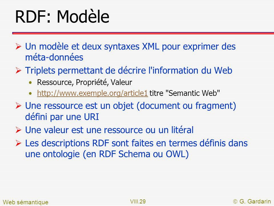 VIII.29 G. Gardarin RDF: Modèle Un modèle et deux syntaxes XML pour exprimer des méta-données Triplets permettant de décrire l'information du Web Ress