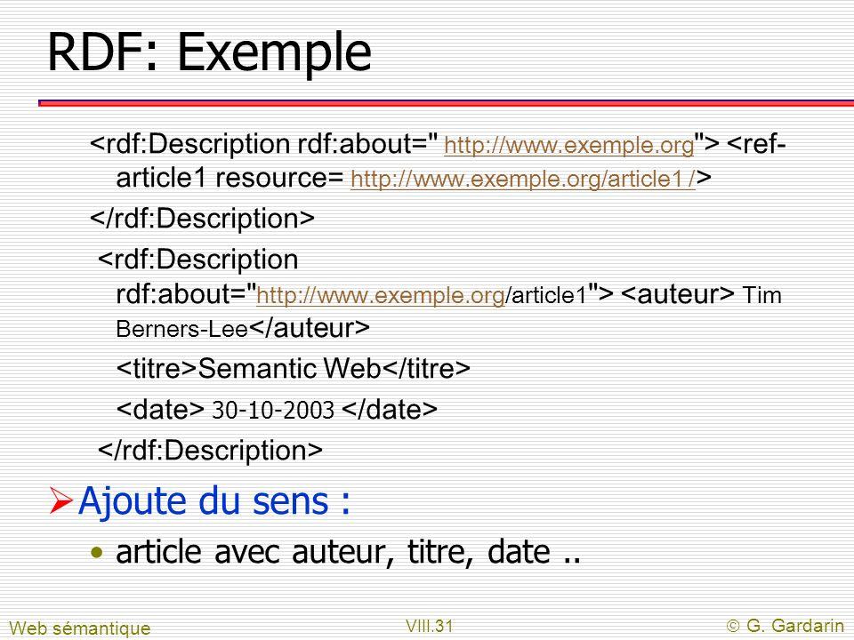 VIII.31 G. Gardarin RDF: Exemple http://www.exemple.org http://www.exemple.org/article1 / Tim Berners-Lee http://www.exemple.org Semantic Web 30-10-20