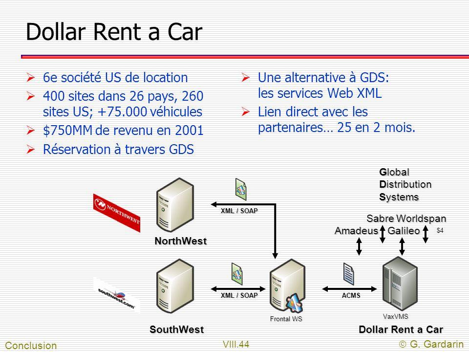 VIII.44 G. Gardarin Dollar Rent a Car 6e société US de location 400 sites dans 26 pays, 260 sites US; +75.000 véhicules $750MM de revenu en 2001 Réser