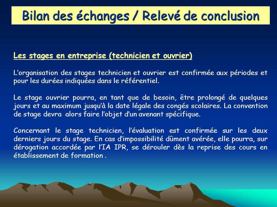Bilan des échanges / Relevé de conclusion Les stages en entreprise (technicien et ouvrier) Lorganisation des stages technicien et ouvrier est confirmée aux périodes et pour les durées indiquées dans le référentiel.