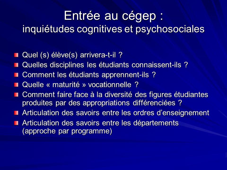 Entrée au cégep : inquiétudes cognitives et psychosociales Quel (s) élève(s) arrivera-t-il .