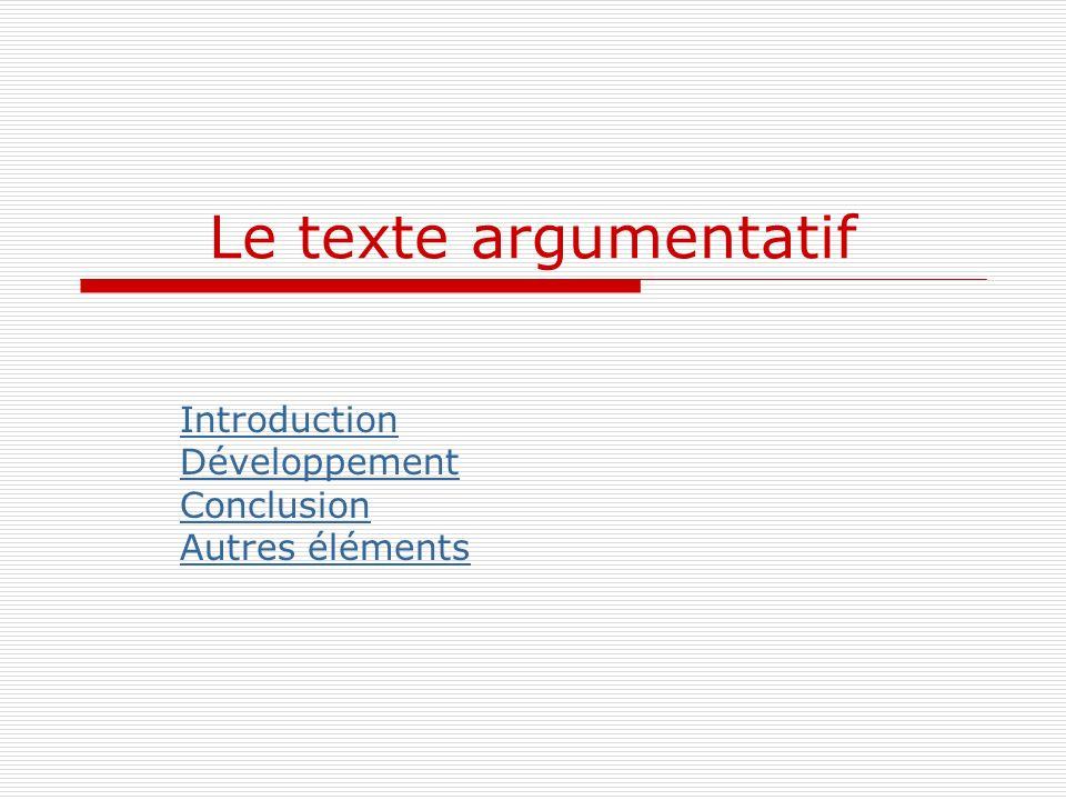 Le texte argumentatif Introduction Développement Conclusion Autres éléments