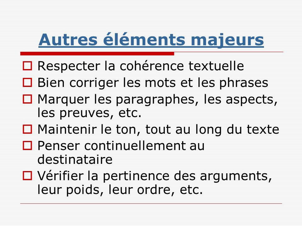 Autres éléments majeurs Respecter la cohérence textuelle Bien corriger les mots et les phrases Marquer les paragraphes, les aspects, les preuves, etc.
