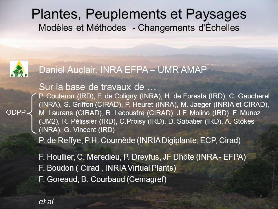 Plantes, Peuplements et Paysages Modèles et Méthodes - Changements d Échelles Daniel Auclair, INRA EFPA – UMR AMAP F.