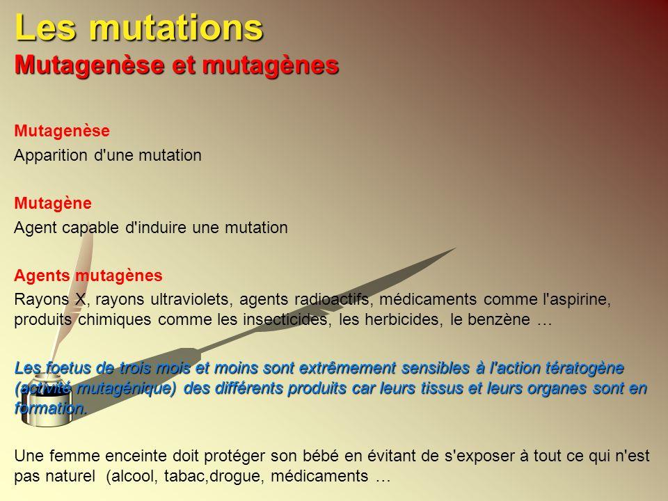 Les mutations Mutagenèse et mutagènes Mutagenèse Apparition d'une mutation Mutagène Agent capable d'induire une mutation Agents mutagènes Rayons X, ra