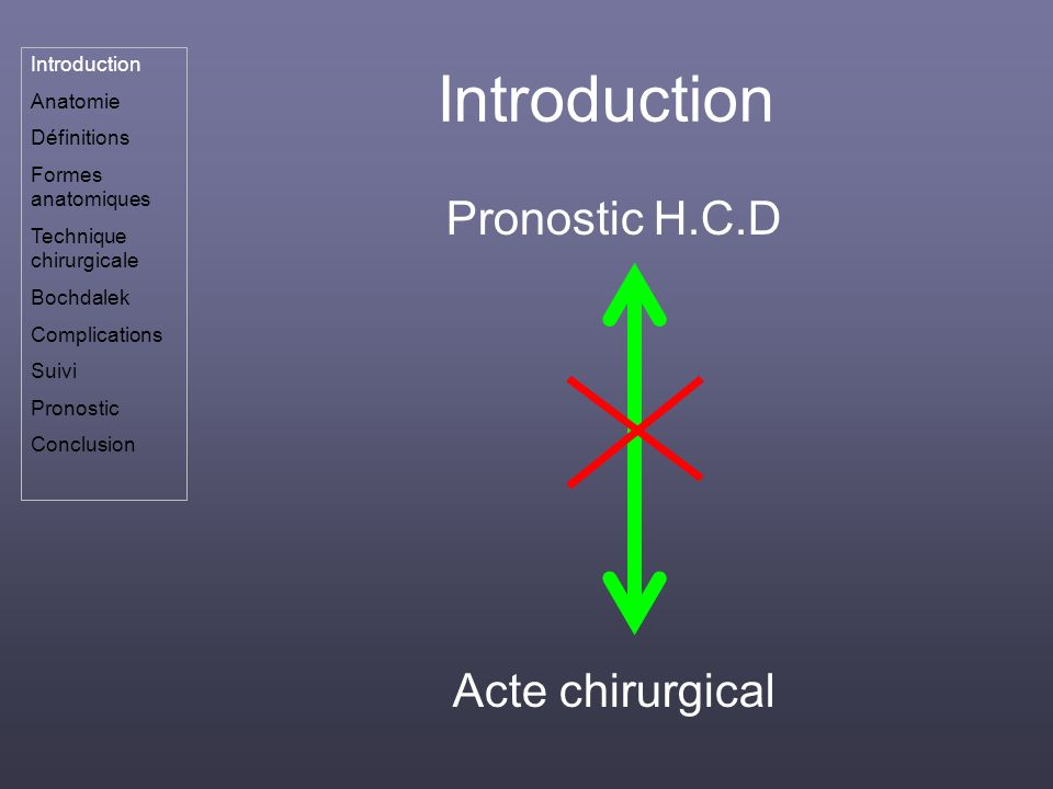 Introduction Pronostic H.C.D Acte chirurgical Introduction Anatomie Définitions Formes anatomiques Technique chirurgicale Bochdalek Complications Suiv