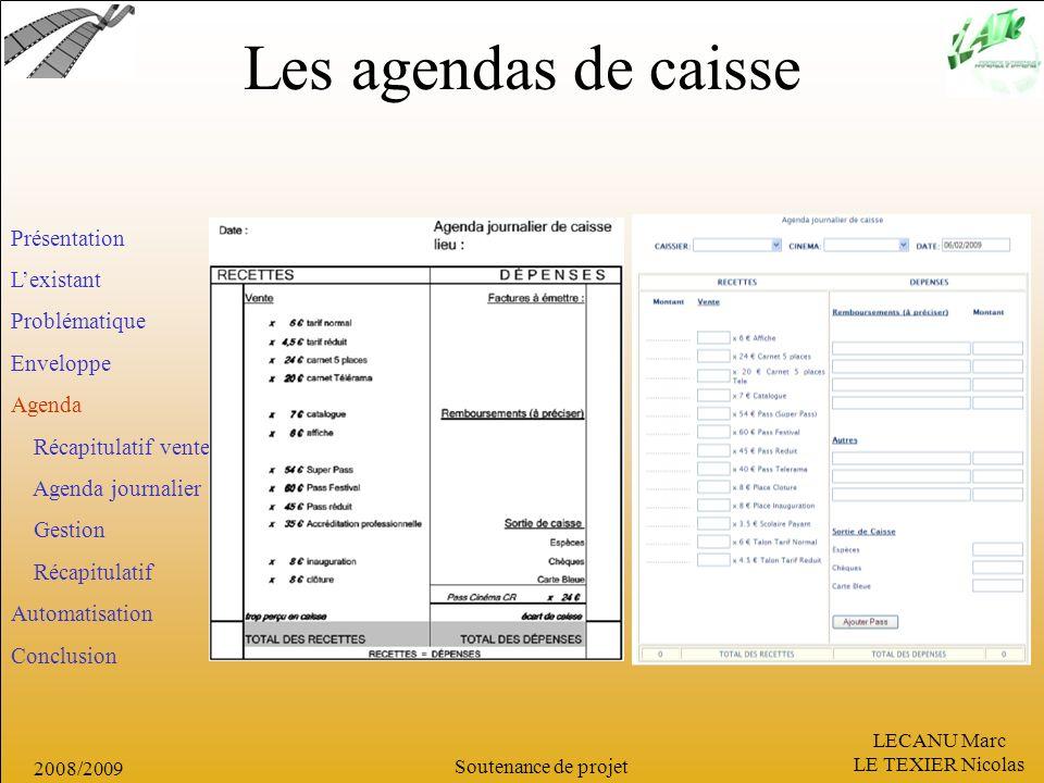 LECANU Marc LE TEXIER Nicolas Soutenance de projet 2008/2009 Les agendas de caisse Présentation Lexistant Problématique Enveloppe Agenda Récapitulatif