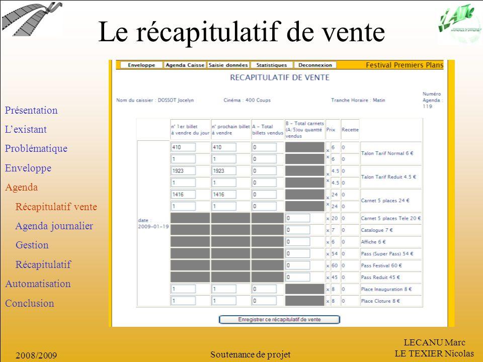 LECANU Marc LE TEXIER Nicolas Soutenance de projet 2008/2009 Le récapitulatif de vente Présentation Lexistant Problématique Enveloppe Agenda Récapitul