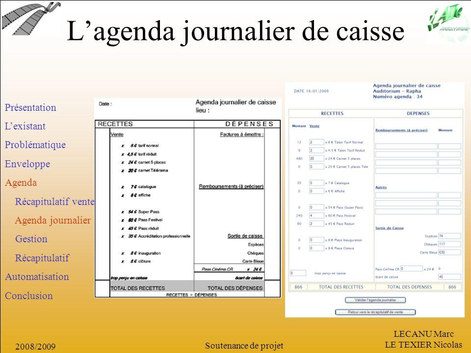 LECANU Marc LE TEXIER Nicolas Soutenance de projet 2008/2009 Lagenda journalier de caisse Présentation Lexistant Problématique Enveloppe Agenda Récapi