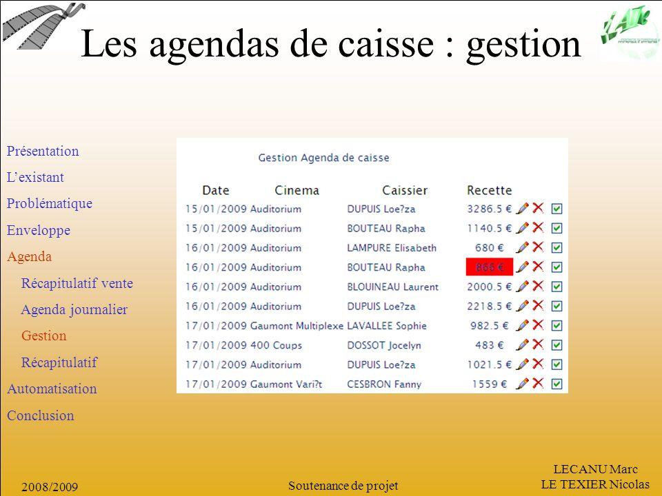 LECANU Marc LE TEXIER Nicolas Soutenance de projet 2008/2009 Les agendas de caisse : gestion Présentation Lexistant Problématique Enveloppe Agenda Réc