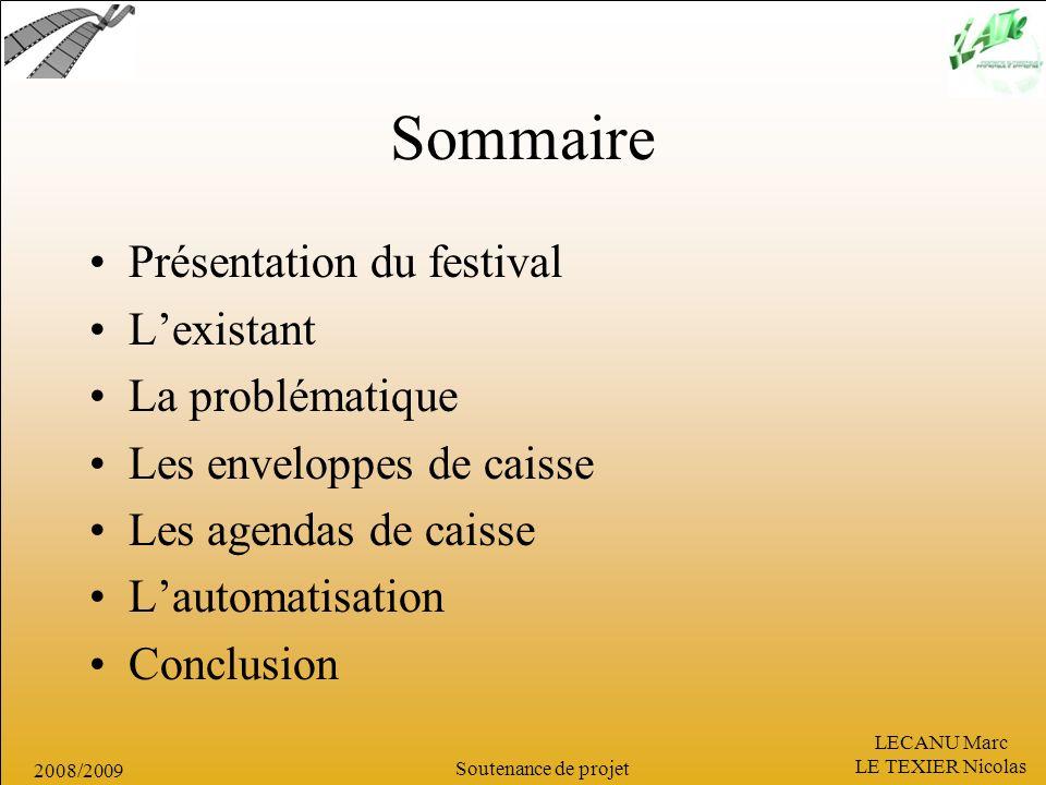 LECANU Marc LE TEXIER Nicolas Soutenance de projet 2008/2009 Sommaire Présentation du festival Lexistant La problématique Les enveloppes de caisse Les
