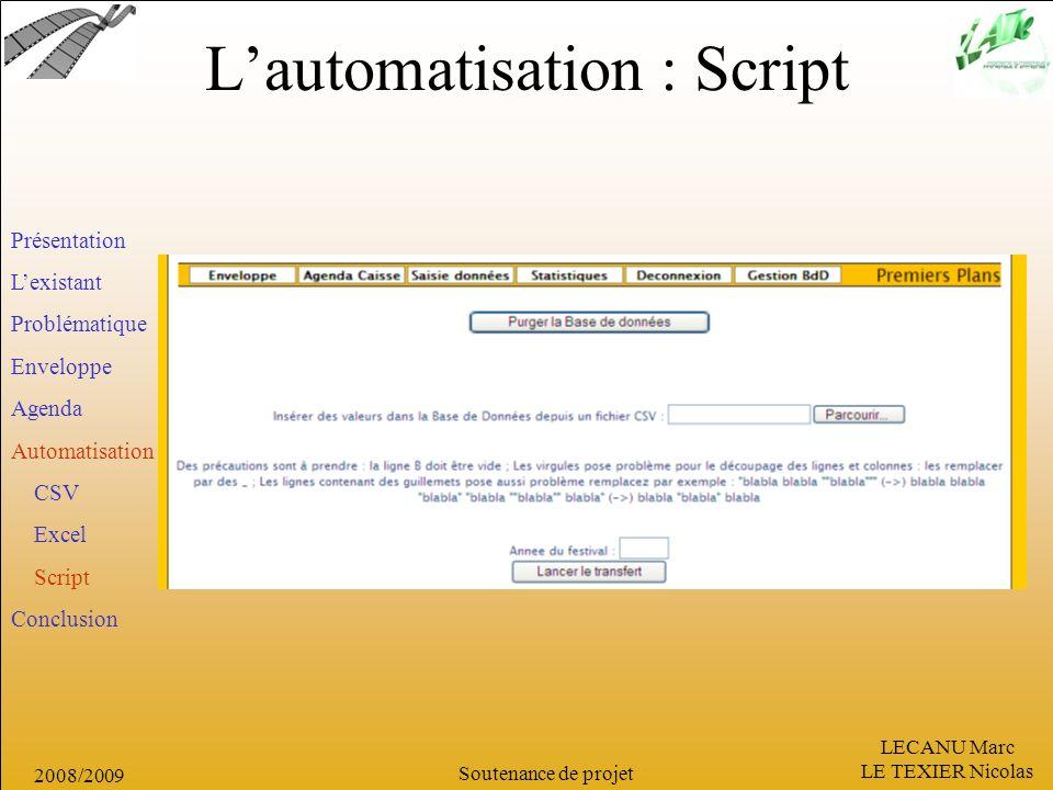 LECANU Marc LE TEXIER Nicolas Soutenance de projet 2008/2009 Lautomatisation : Script Présentation Lexistant Problématique Enveloppe Agenda Automatisa