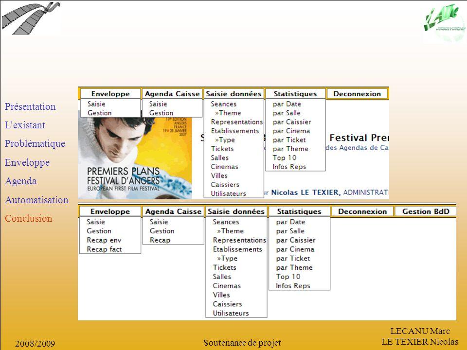 LECANU Marc LE TEXIER Nicolas Soutenance de projet 2008/2009 Présentation Lexistant Problématique Enveloppe Agenda Automatisation Conclusion