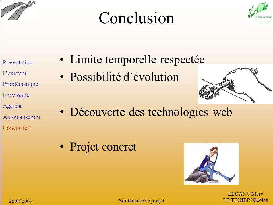 LECANU Marc LE TEXIER Nicolas Soutenance de projet 2008/2009 Conclusion Présentation Lexistant Problématique Enveloppe Agenda Automatisation Conclusio