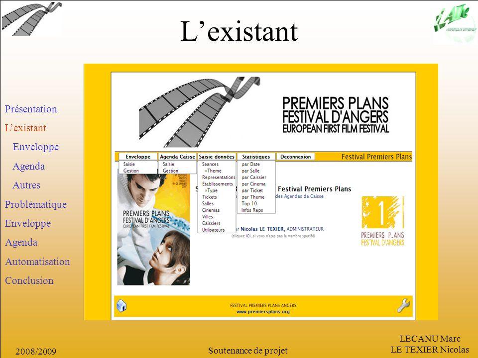 LECANU Marc LE TEXIER Nicolas Soutenance de projet 2008/2009 Lexistant Présentation Lexistant Enveloppe Agenda Autres Problématique Enveloppe Agenda A