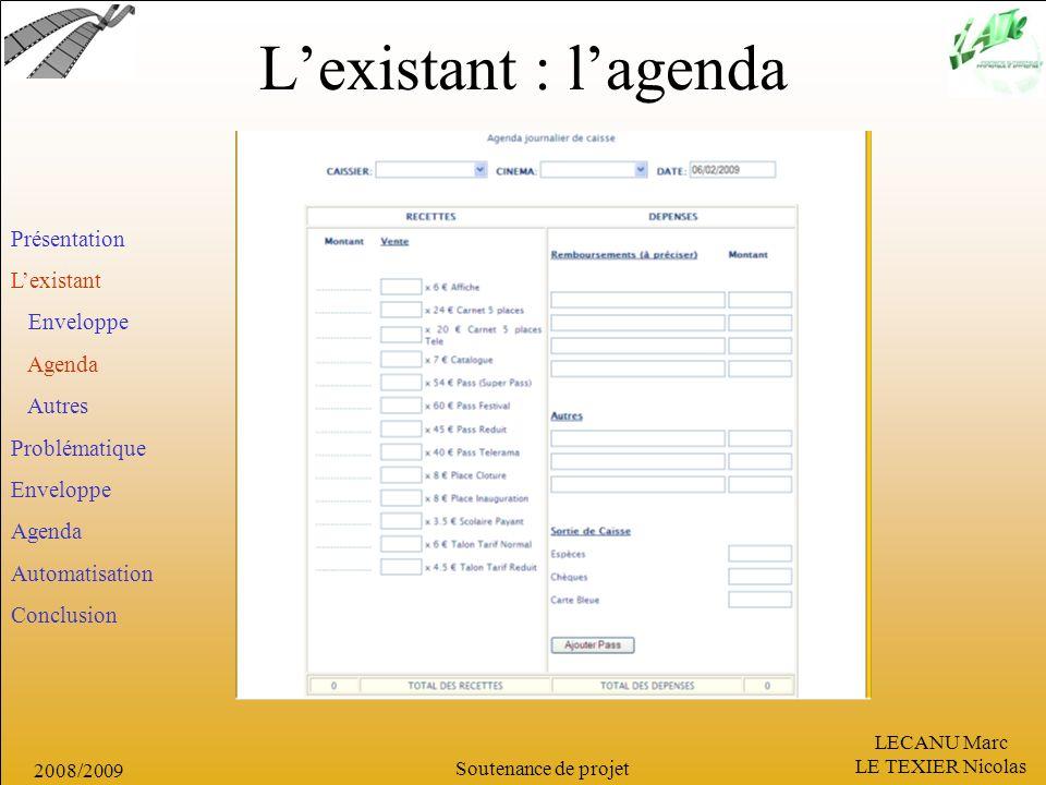LECANU Marc LE TEXIER Nicolas Soutenance de projet 2008/2009 Lexistant : lagenda Présentation Lexistant Enveloppe Agenda Autres Problématique Envelopp