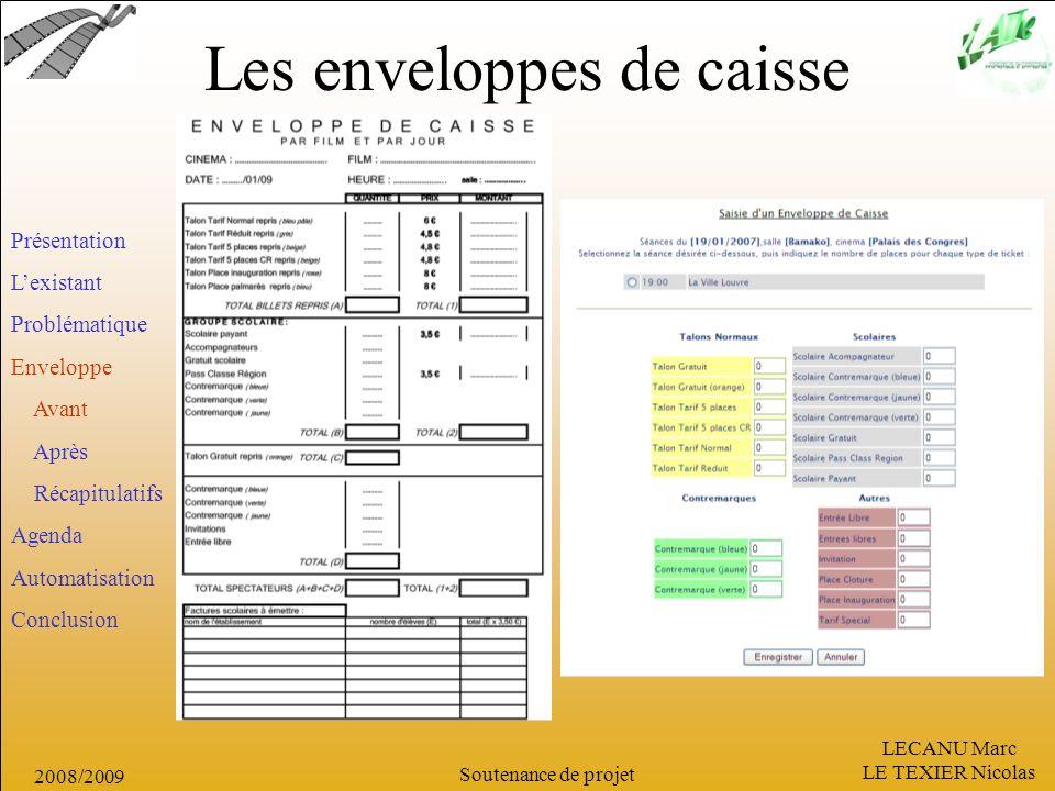 LECANU Marc LE TEXIER Nicolas Soutenance de projet 2008/2009 Les enveloppes de caisse Présentation Lexistant Problématique Enveloppe Avant Après Récap