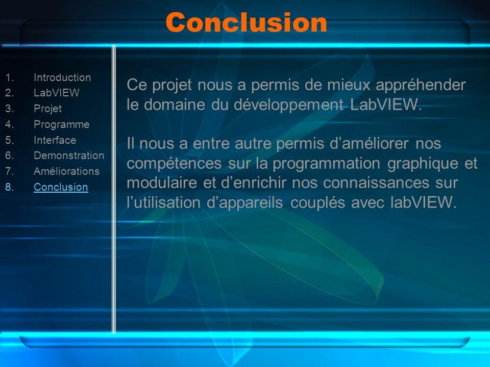 Conclusion 1.Introduction 2.LabVIEW 3.Projet 4.Programme 5.Interface 6.Demonstration 7.Améliorations 8.Conclusion Ce projet nous a permis de mieux appréhender le domaine du développement LabVIEW.