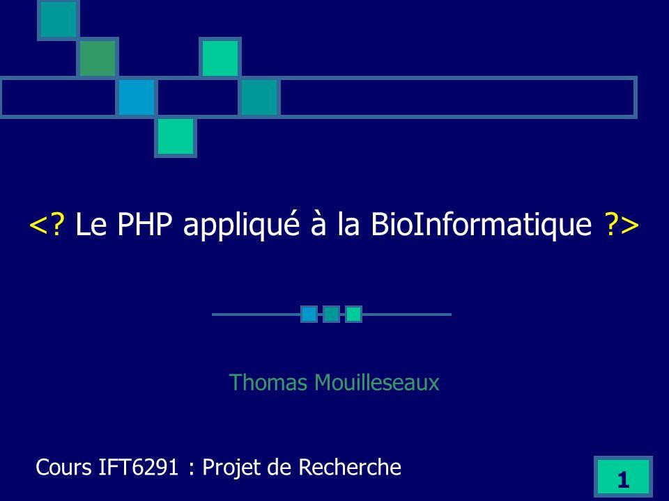 2 Introduction Le projet BioPHP Travaux avec BioPHP Mes travaux en PHP Conclusion Intro Le Projet BioPHP Travaux avec BioPHP Mes travaux en PHP Conclusion