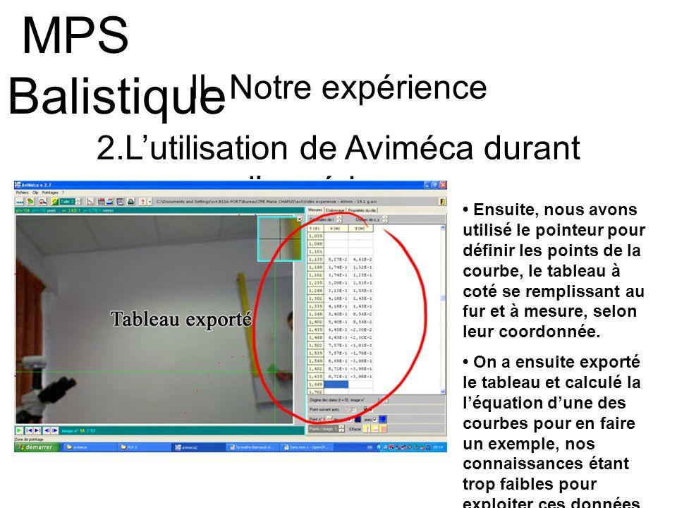 II- Notre expérience 2.Lutilisation de Aviméca durant lexpérience MPS Balistique Ensuite, nous avons utilisé le pointeur pour définir les points de la
