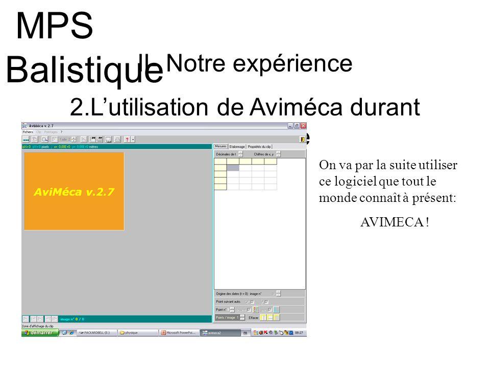 II- Notre expérience 2.Lutilisation de Aviméca durant lexpérience MPS Balistique On va par la suite utiliser ce logiciel que tout le monde connaît à p