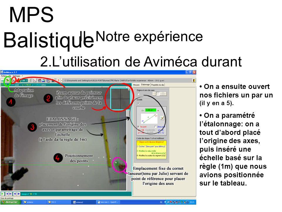 II- Notre expérience 2.Lutilisation de Aviméca durant lexpérience MPS Balistique On a ensuite ouvert nos fichiers un par un (il y en a 5). On a paramé