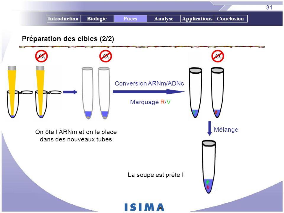 31 IntroductionBiologiePucesAnalyseApplicationsConclusionPuces Préparation des cibles (2/2) On ôte lARNm et on le place dans des nouveaux tubes Mélang