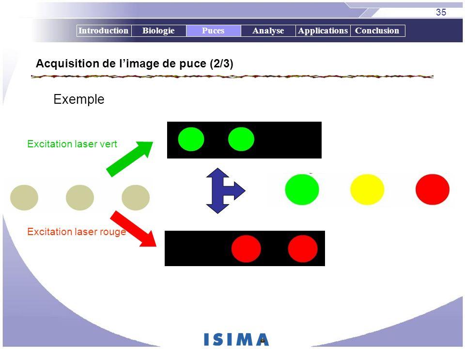 35 IntroductionBiologiePucesAnalyseApplicationsConclusion Acquisition de limage de puce (2/3) Exemple Excitation laser vert Excitation laser rouge Puc