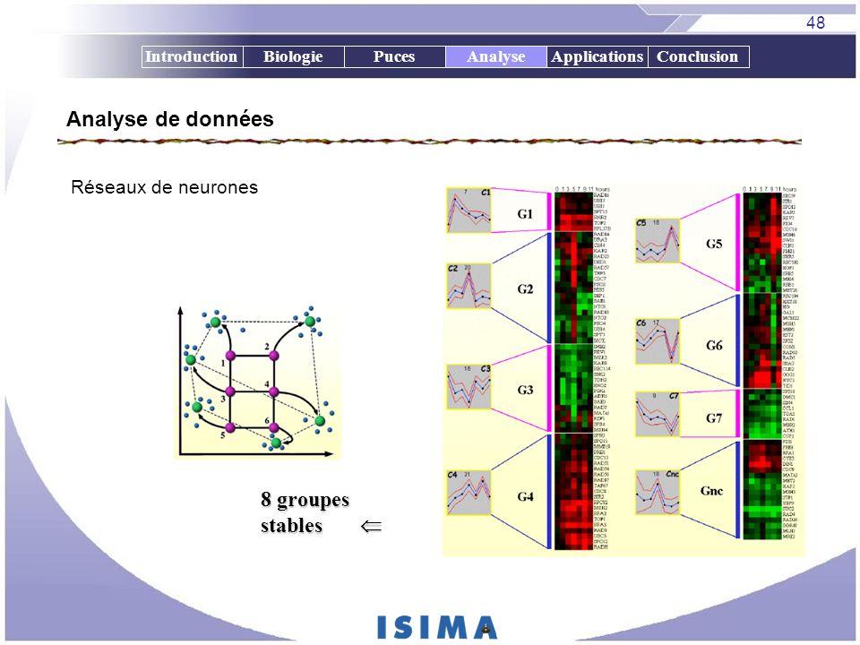 48 IntroductionBiologiePucesAnalyseApplicationsConclusion Réseaux de neurones 8 groupes stables 8 groupes stables Analyse de données Analyse