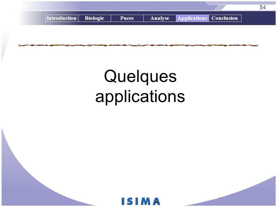 54 IntroductionBiologiePucesAnalyseApplicationsConclusion Quelques applications Applications
