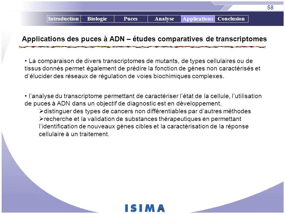 58 IntroductionBiologiePucesAnalyseApplicationsConclusion Applications des puces à ADN – études comparatives de transcriptomes Applications La compara