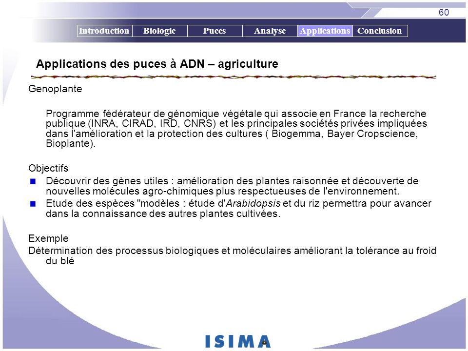 60 IntroductionBiologiePucesAnalyseApplicationsConclusion Applications des puces à ADN – agriculture Genoplante Programme fédérateur de génomique végé