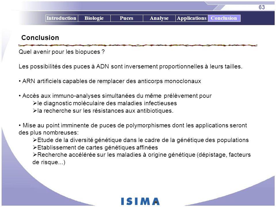 63 IntroductionBiologiePucesAnalyseApplicationsConclusion Quel avenir pour les biopuces ? Les possibilités des puces à ADN sont inversement proportion