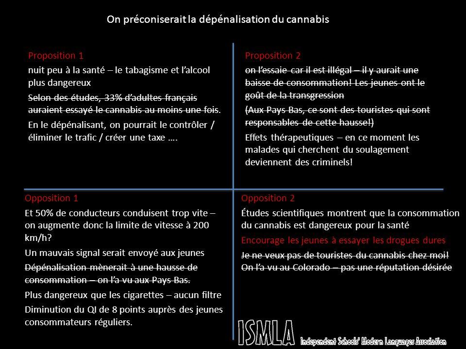 Proposition 1 nuit peu à la santé – le tabagisme et lalcool plus dangereux Selon des études, 33% dadultes français auraient essayé le cannabis au moins une fois.
