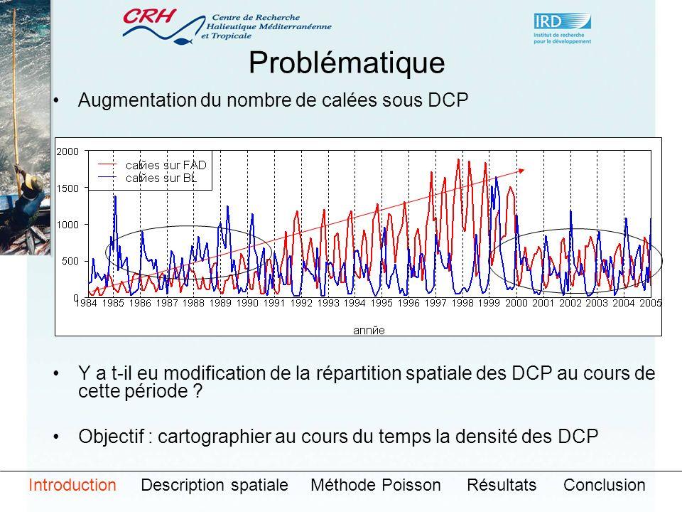 Augmentation du nombre de calées sous DCP Y a t-il eu modification de la répartition spatiale des DCP au cours de cette période ? Objectif : cartograp