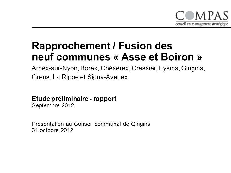 Rapprochement / Fusion des neuf communes « Asse et Boiron » Arnex-sur-Nyon, Borex, Chéserex, Crassier, Eysins, Gingins, Grens, La Rippe et Signy-Avenex.
