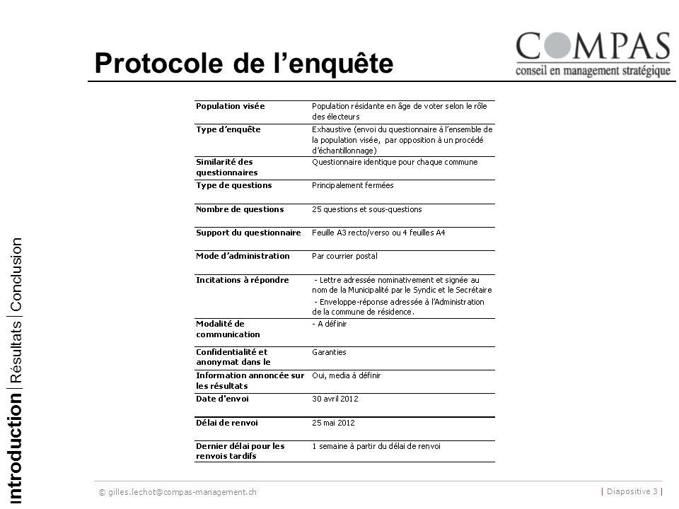 © gilles.lechot@compas-management.ch | Diapositive 3 | Protocole de lenquête I ntroduction Résultats Conclusion