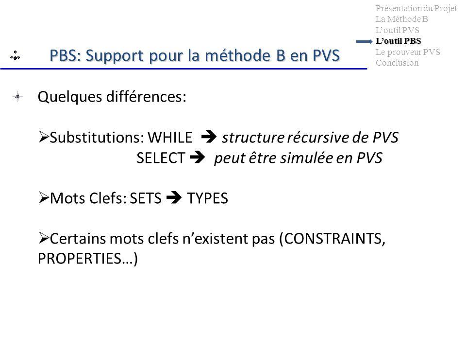 Quelques différences: Substitutions: WHILE structure récursive de PVS SELECT peut être simulée en PVS Mots Clefs: SETS TYPES Certains mots clefs nexistent pas (CONSTRAINTS, PROPERTIES…) Loutil PBS Présentation du Projet La Méthode B Loutil PVS Loutil PBS Le prouveur PVS Conclusion PBS: Support pour la méthode B en PVS