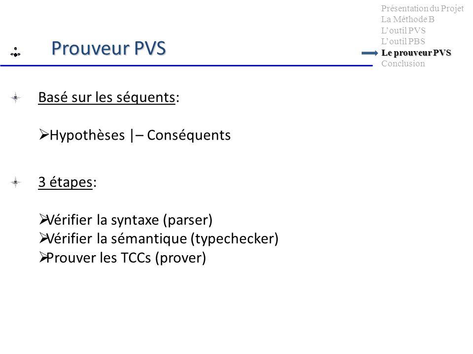 Basé sur les séquents: Hypothèses |– Conséquents Le prouveur PVS Présentation du Projet La Méthode B Loutil PVS Loutil PBS Le prouveur PVS Conclusion Prouveur PVS 3 étapes: Vérifier la syntaxe (parser) Vérifier la sémantique (typechecker) Prouver les TCCs (prover)