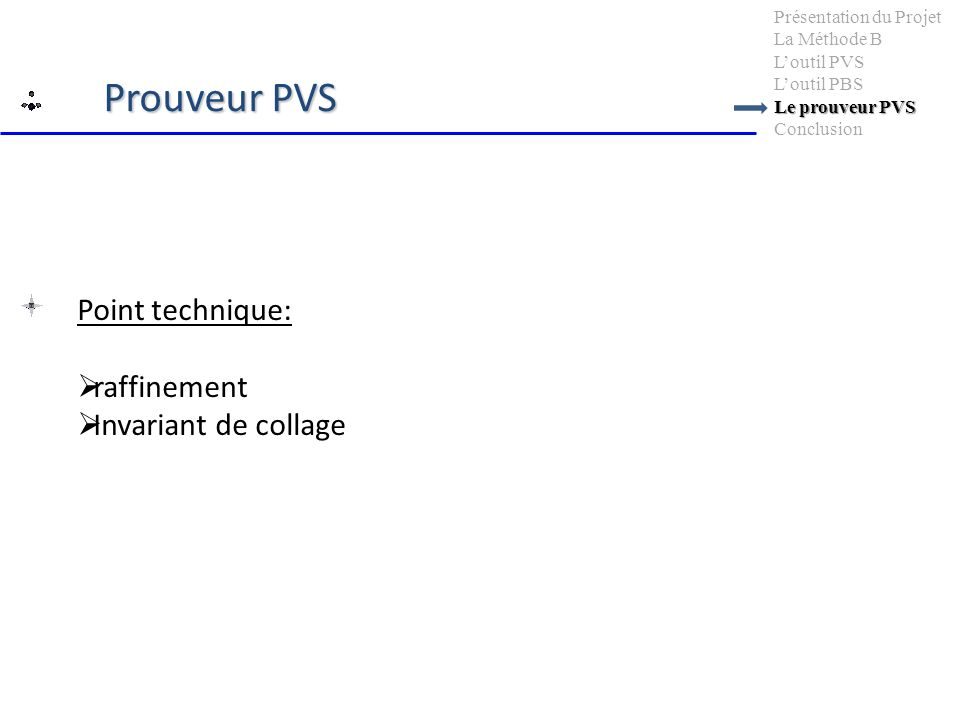 Point technique: raffinement Invariant de collage Le prouveur PVS Présentation du Projet La Méthode B Loutil PVS Loutil PBS Le prouveur PVS Conclusion