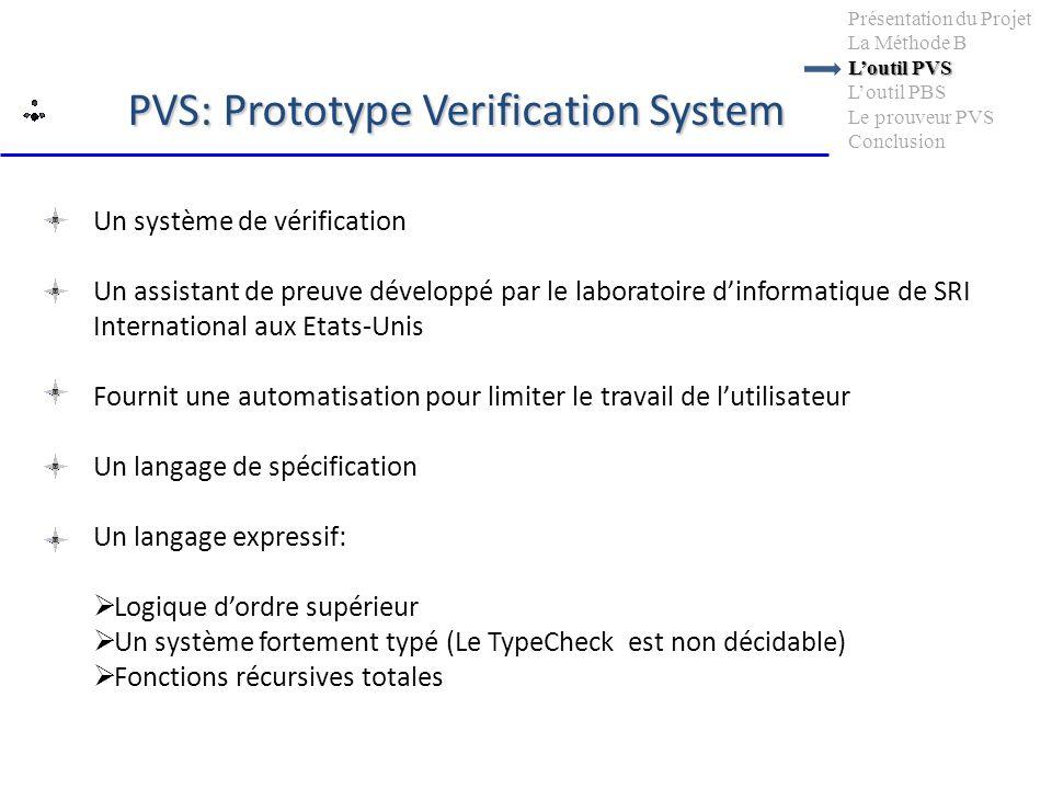 PVS: Prototype Verification System Un système de vérification Un assistant de preuve développé par le laboratoire dinformatique de SRI International a
